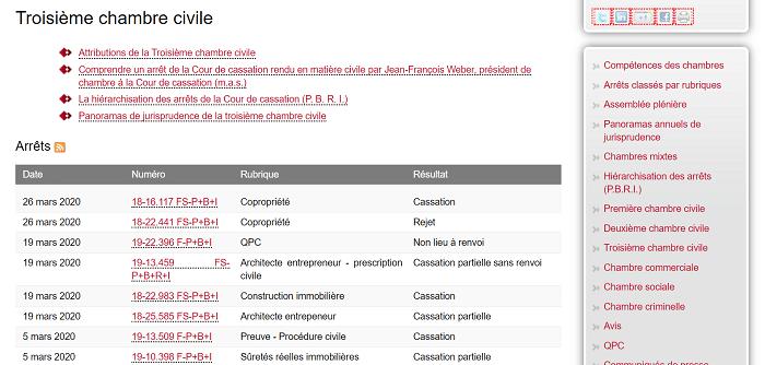 liste d'arrêts sur le site de la Cour de cassation