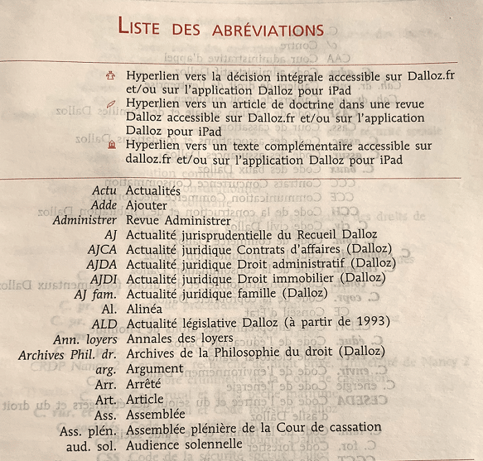 liste des abréviations du Code civil