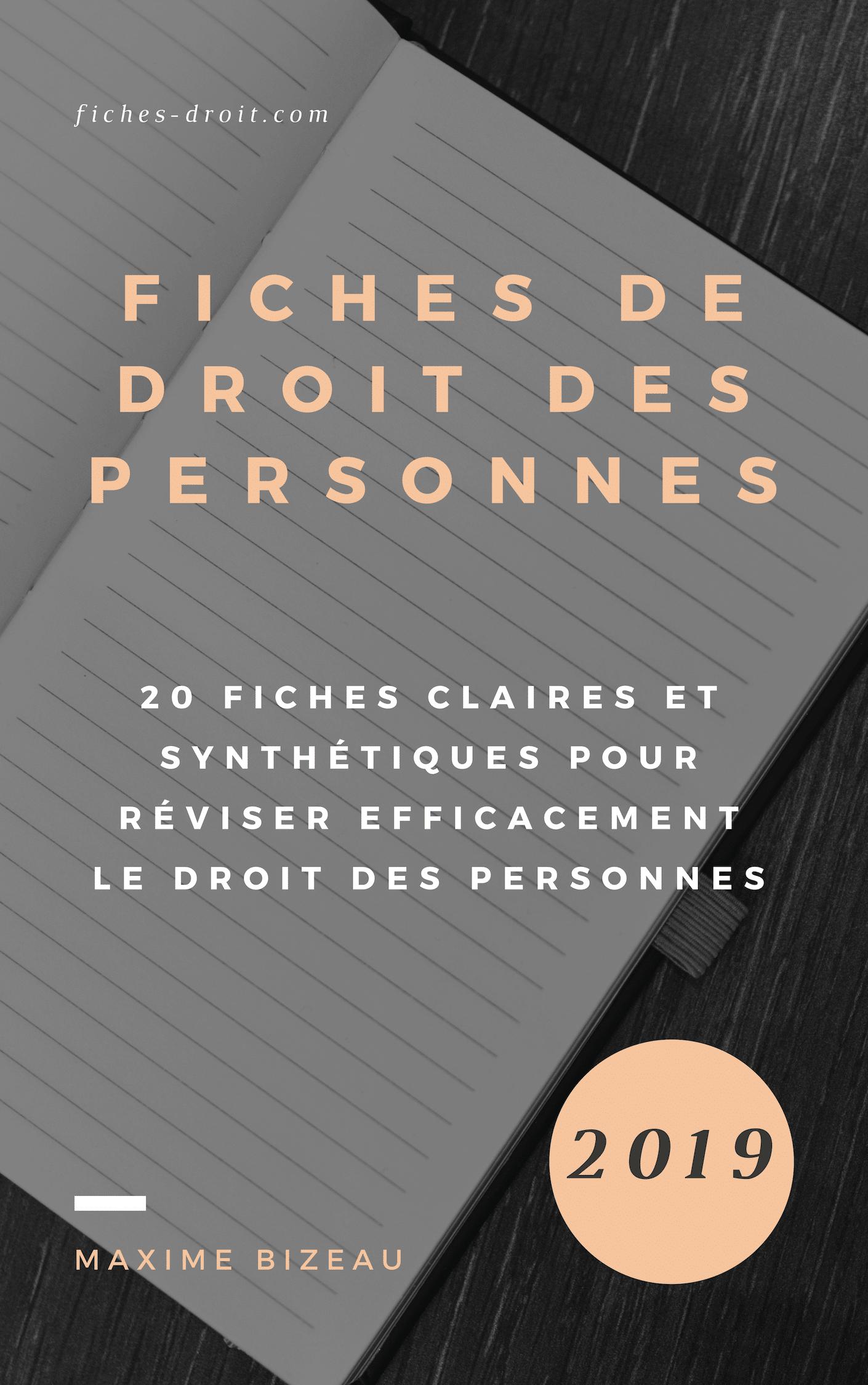 Couverture - FICHES DE DROIT DES PERSONNES